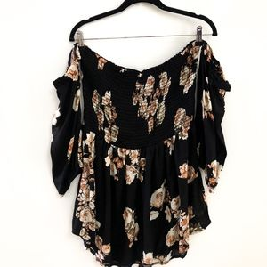 Black Off the Shoulder Floral Tube Top/Tunic